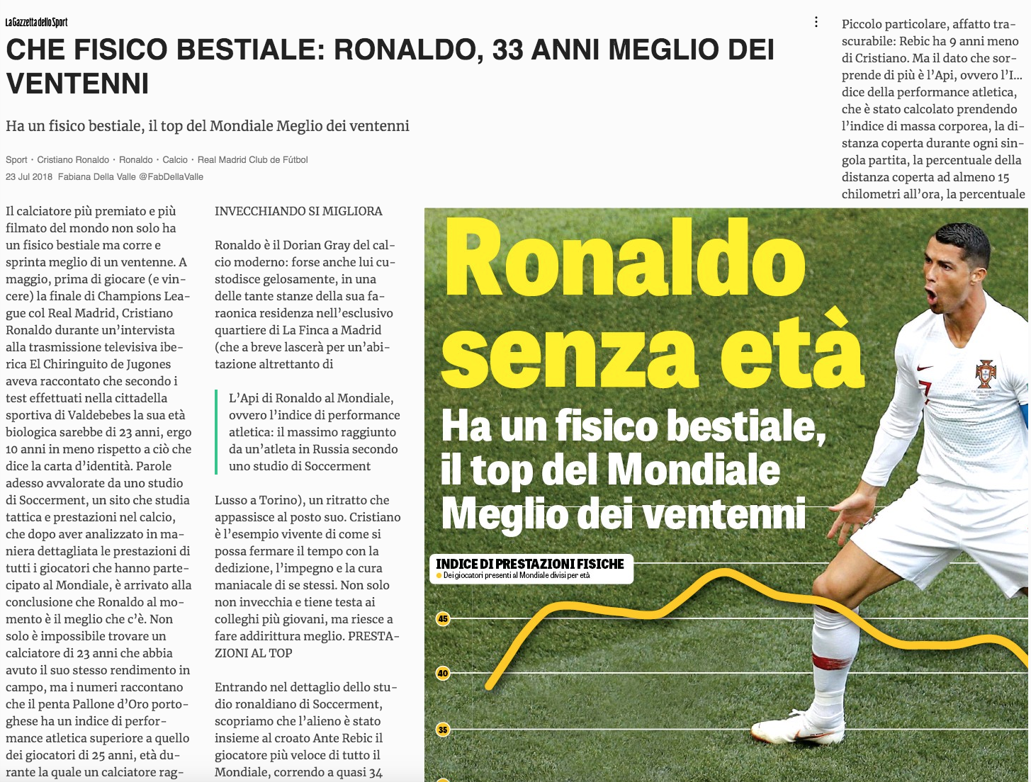 Athletic performance in World Cup 2018: Soccerment's research on La Gazzetta dello Sport